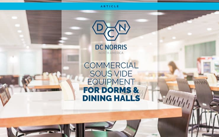 """an image of an empty dining hall with a headline that reads 'commercial sous vide equipment for dorms and dining halls"""""""