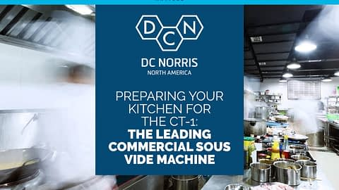 """image of a busy commercial kitchen with a headline in white on a dark navy blue background that reads """"preparing your kitchen for the CT-1: the leading commercial sous vide machine"""