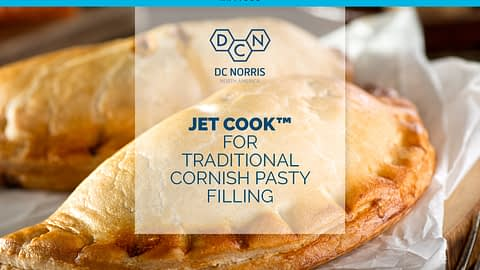 two cornish pasties behind a title that reads 'the jet cook system for traditional cornish pasty filling' beneath the DC Norris North America logo