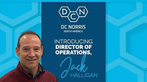 """image of Jack Halligan from the shoulders up with a statement that reads """"Introducing Director of Operations, Jack Halligan"""" below the DC Norris North America logo"""