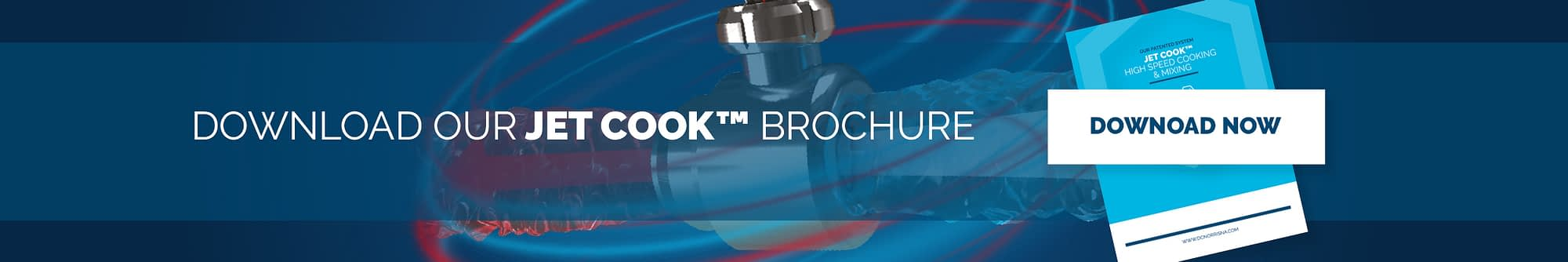 a drawing of the Jet Cook™ head with a headline reading download out Jet Cook™ brochure