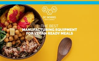 vegan power bowl on a yellow background with The Best Manufacturing Equipment For Vegan Ready Meals