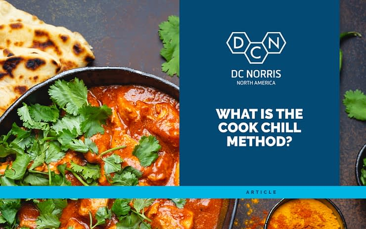 """a bowl of curry prepared using the cook chill method next to a blue banner that reads """"What is the Cook Chill method"""" and links to the DC Norris North America blog post"""
