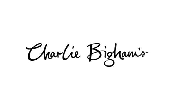 black and white Charlie Bigham's logo on a white background