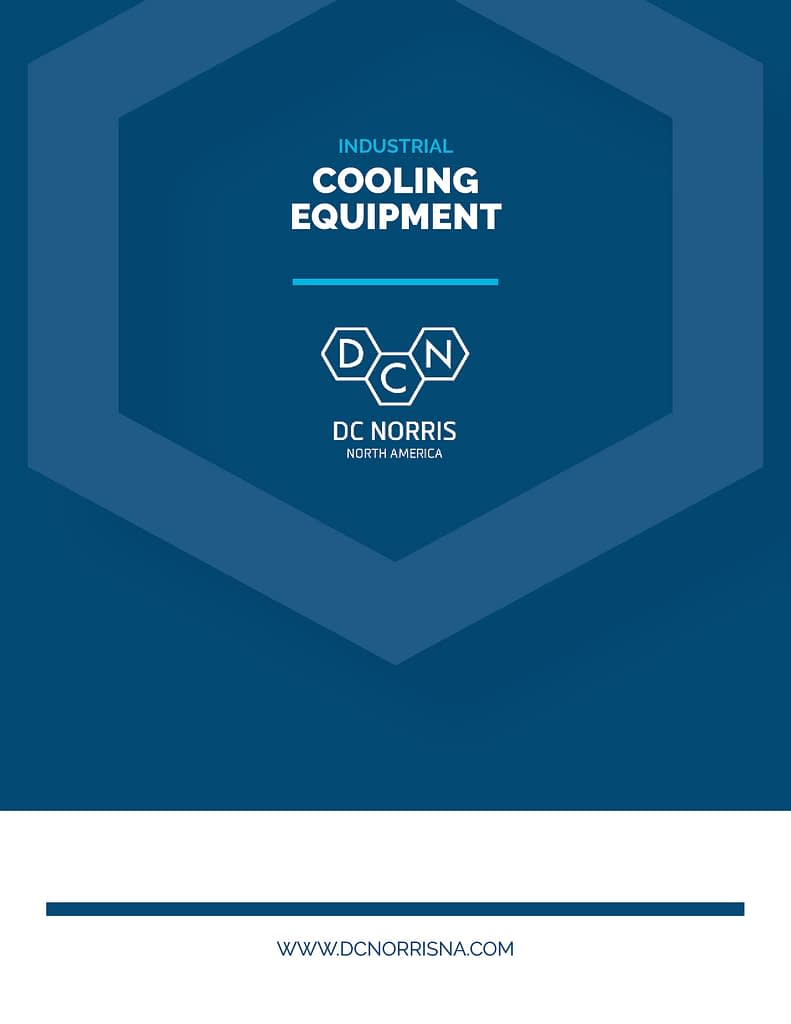 Cover of the DC Norris North America Industrial Cooling Systems Brochure Navy Blue with large hexagon