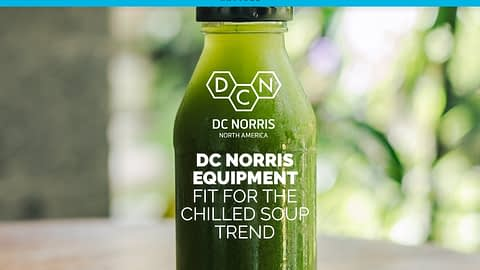 an image of green chilled soup in a glass bottle with the headline that reads DC Norris Equipment for the chilled soup trend