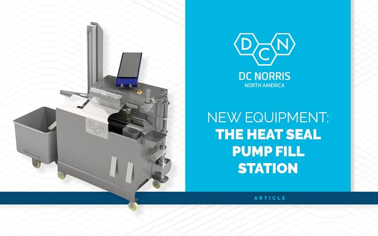 New Equipment blog post covering the DC Norris heat seal pump fill station with an image of the Model 400 on a white background
