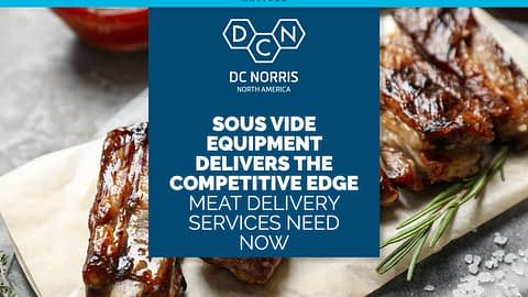 sous vide equipment prepared spare ribs in the background with a title that reads 'sous vide delivers the competitive edge meat delivery services need now'