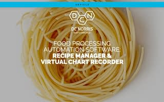 dc norris north america logo above the title 'food processing automation software recipe manager and virtual chart recorder' with a pile of pasta in the background