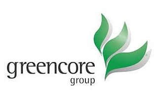full color greencore logo on a white background