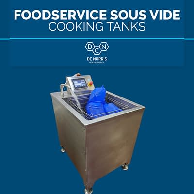 DC Norris CT-1 sous vide cook tank on a blue background with a headline reading 'foodservice sous vide cooking tanks'