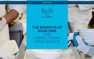 an image of the prep kitchen in a correctional facility behind a bright blue rectangle with a headline that reads 'the benefits of sous vide for correctional food service' below the DC Norris North America logo