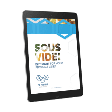 cover of DC Norris North America's Industrial Sous Vide Ebook on a tablet