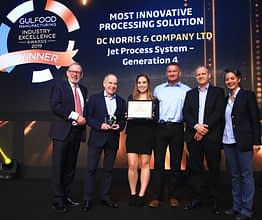 DC Norris team receives 'Most Innovative Processing Solution' award on stage at Gulfood Manufacturing Industry Excellence Awards in October, 2019