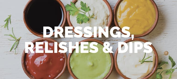 a variety of prepared dressings and dips in single serve portions showcasing the type of products DC Norris North America's manufacturing equipment can produce