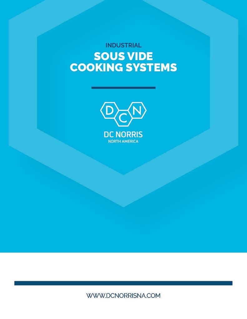 Bright blue cover of the DC Norris North America Sous Vide Cooking Systems brochure with a large hexagon design